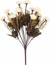 Kunstseide 14-Kopf Künstlichen Blume Nelke Pflanze Blumen Dekor - Weiß, 43cm