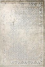 Kunstseide Teppich Vintage Kawung - modernes Kawung-Muster in Anthrazit oder Beige | ultra leichter und softer Flor mit edlem Seidenglanz | für jeden Raum geeignet, da pflegeleicht und strapazierfähig , Farbe:Beige, Größe:160 x 230 cm