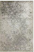 Kunstseide Teppich Vintage Kawung - modernes Kawung-Muster in Anthrazit oder Beige   ultra leichter und softer Flor mit edlem Seidenglanz   für jeden Raum geeignet, da pflegeleicht und strapazierfähig , Farbe:Anthrazit, Größe:160 x 230 cm