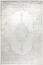 Kunstseide Teppich Vintage Ornament - klassisches Muster modern interpretiert in Anthrazit oder SIlber | ultra leichter und softer Flor mit edlem Seidenglanz | pflegeleicht und strapazierfähig , Farbe:Silber, Größe:160 x 230 cm