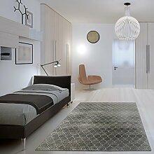 Kunstseide Teppich Vintage Rhombus - modernes Rauten-Muster in Anthrazit oder Silber | ultra leichter und softer Flor mit edlem Seidenglanz | pflegeleicht und strapazierfähig , Farbe:Silber, Größe:160 x 230 cm
