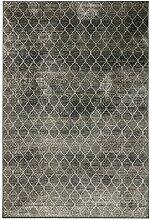 Kunstseide Teppich Vintage Rhombus - modernes Rauten-Muster in Anthrazit oder Silber   ultra leichter und softer Flor mit edlem Seidenglanz   pflegeleicht und strapazierfähig , Farbe:Anthrazit, Größe:160 x 230 cm