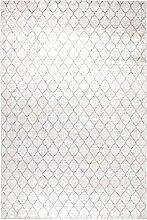 Kunstseide Teppich Vintage Rhombus - modernes Rauten-Muster in Anthrazit oder Silber | ultra leichter und softer Flor mit edlem Seidenglanz | pflegeleicht und strapazierfähig , Farbe:Silber, Größe:120 x 170 cm