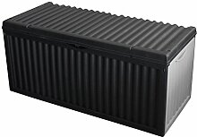 Kunststoff Auflagenbox 350L / 120x52xH54cm Gartenbox Gartentruhe Kissenbox für Polsterauflagen Aufbewahrungsbox Aufbewahrungskiste Auflagentruhe Anthrazit / Grau