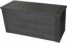 Kunststoff Auflagenbox Holzoptik 300L / 120x46xH58cm Gartenbox Gartentruhe Kissenbox für Polsterauflagen Aufbewahrungsbox Aufbewahrungskiste Auflagentruhe Anthrazi