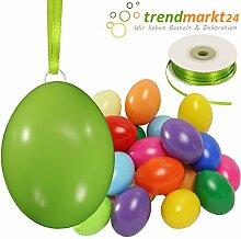 Kunststoff-Eier Bunt 6 cm ★ 25er Pack + Aufhängeösen ✓ 50m Satinband grün ✓ Basteleier ca. 60mm groß ✓ Oster-Eier mit Loch ✓ Plastik-Eier für Oster-Deko   trendmarkt24 - 27027