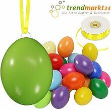Kunststoff-Eier Bunt 6 cm ★ 25er Pack + Aufhängeösen ✓ 50m Satinband gelb ✓ Basteleier ca. 60mm groß ✓ Oster-Eier mit Loch ✓ Plastik-Eier für Oster-Deko   trendmarkt24 - 27028