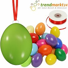 Kunststoff-Eier Bunt 6 cm ★ 25er Pack + Aufhängeösen ✓ 50m Satinband rot ✓ Basteleier ca. 60mm groß ✓ Oster-Eier mit Loch ✓ Plastik-Eier für Oster-Deko | trendmarkt24 - 27025
