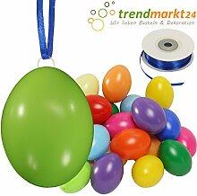 Kunststoff-Eier Bunt 6 cm ★ 25er Pack + Aufhängeösen ✓ 50m Satinband blau ✓ Basteleier ca. 60mm groß ✓ Oster-Eier mit Loch ✓ Plastik-Eier für Oster-Deko   trendmarkt24 - 27026