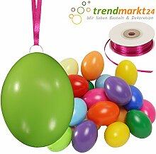 Kunststoff-Eier Bunt 6 cm ★ 25er Pack + Aufhängeösen ✓ 50m Satinband pink ✓ Basteleier ca. 60mm groß ✓ Oster-Eier mit Loch ✓ Plastik-Eier für Oster-Deko   trendmarkt24 - 27024