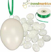 Kunststoff-Eier Weiß 6 cm ★ 100er Pack + Aufhängeösen ✓ 2 x 50m Satinband Grün ✓ Basteleier unbemalt ca. 60mm groß ✓ Oster-Eier mit Loch ✓ Plastik-Eier für Oster-Deko | trendmarkt24-259164100