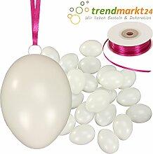 Kunststoff-Eier Weiß 6 cm ★ 100er Pack + Aufhängeösen ✓ 2 x 50m Satinband Pink ✓ Basteleier unbemalt ca. 60mm groß ✓ Oster-Eier mit Loch ✓ Plastik-Eier für Oster-Deko | trendmarkt24-259160100
