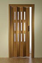 Kunststoff - Falttür Buche mit 3 Fenster 88,5x202
