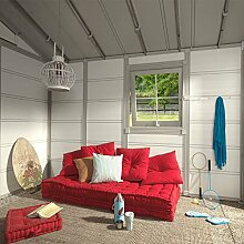 Kunststoff-Gartenhaus Deco 20VSB grau/grün/weiß, 403x493 cm