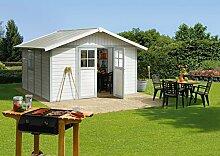 Kunststoff-Gartenhaus Deco H11 grau/grün/weiß, 315x355 cm