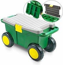 Kunststoff Gartenwagen mit Sitz und Staufächern -