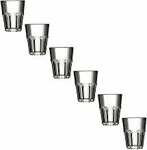Kunststoff Gläser - Trinkgläser Gartenparty - Camping Mehrwegbecher - Plastik Party Becher - Party Mehrweg Trinkgefäße mit Modellauswahl (Glas Shot 6 Stück transparent)