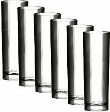 Kunststoff Gläser - Trinkgläser Gartenparty - Camping Mehrwegbecher - Plastik Party Becher - Party Mehrweg Trinkgefäße mit Modellauswahl (Longdrink 6 Stück transparent)