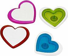 Kunststoff-Herz-Druck Kühlschrank magnetischen Aufkleber 4 Stück sortiert Farbe