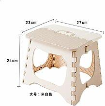 Kunststoff klappbar Hocker Badezimmer mini Werkbank Kinder Erwachsene Outdoor portable Klapphocker, cremig-weiß, 27 * 23 * 24 cm