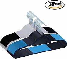 Kunststoff Kleiderbügel, IEOKE 30 Stück Antirutsch Kleiderbügel Anzugbügel mit Anti-Rutsch Gummierung(15 blau und schwarz, 15 Meter weiß und schwarz)