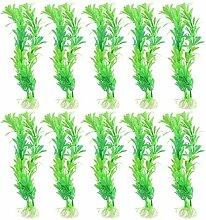 Kunststoff Künstliche Aquarium Gras Pflanze Dekoration 8,3 Zoll 10 Stück Grün
