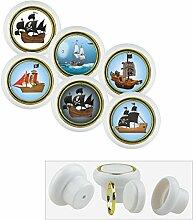 Kunststoff Möbelknopf Möbelgriff Möbelknauf Set 007WP Piratenschiff 6er Kleine Universal Möbelknöpfe für Schrank, Schublade, Kommode, Tür, Küche, Bad, Haushalt Kinder Kinderzimmer