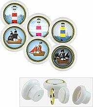 Kunststoff Möbelknopf Möbelgriff Möbelknauf Set 013WP Leuchtturm Pirat 6er Kleine Universal Möbelknöpfe für Schrank, Schublade, Kommode, Tür, Küche, Bad, Haushalt Kinder Kinderzimmer