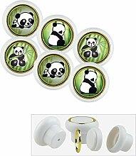 Kunststoff Möbelknopf Möbelgriff Möbelknauf Set 018WP Panda Bär 6er Kleine Universal Möbelknöpfe für Schrank, Schublade, Kommode, Tür, Küche, Bad, Haushalt Kinder Kinderzimmer