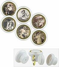 Kunststoff Möbelknopf Möbelgriff Möbelknauf Set 024WP Nostalgie Frau Hut Portrait 6er Kleine Universal Möbelknöpfe für Schrank, Schublade, Kommode, Tür, Küche, Bad, Haushalt Kinder Kinderzimmer