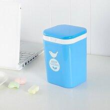Kunststoff Quadratische Desktop Mülltonne Mini Trash kann himmelblau