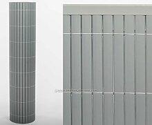 Kunststoff Sichtschutz 100 x 300cm Farbe: aluminium/silber Modell Exclusiv - Sichtschutz Balkon Terasse Garten Sicht Schutz Sonnenschutz Windschutz
