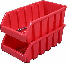 Kunststoff stapelbar Mülleimer, rot, QI003255R