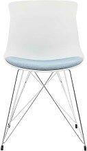 Kunststoff Stühle in Weiß und hell Blau