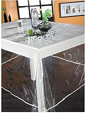 Kunststoff-Tischdecke rund 180cm, transparente uni Kristall