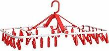 Kunststoff-Trockner / Multi-Clips Trockner / Faltbar / 32 Clip / Unterwäsche Kleiderbügel, Socken Kleiderbügel ( Farbe : Rot )