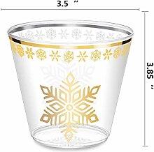 Kunststoffbecher mit Goldrand, 266 ml, mit