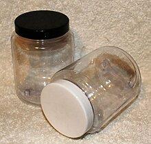 Kunststoffbecher, mit schwarzem Deckel, transparent / farblos, 500 ml, 10 Stück