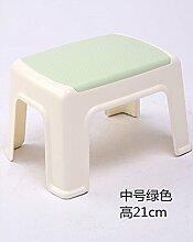 Kunststoffhocker verdickte Erwachsene ändern Schuhe Stuhl Kinder niedrigen Hocker Badezimmer Hocker quadratisch Hocker kleine Sitzbank Tisch Stuhl Haushalt, grün, 21 cm