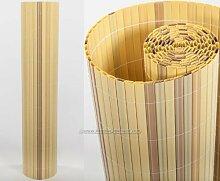 Kunststoffmatte 140 x 300cm Farbe: bambus Modell Exclusiv - Sichtschutz Balkon Terasse Garten Sicht Schutz Sonnenschutz Windschutz