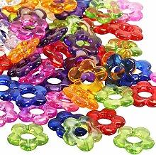 Kunststoffperlen, kleine bunte Blumen, 70 Stück ✓ transparente bunte Kinderperlen ✓ Blumen-Perlen ca. 20mm groß ✓ Lochgröße ca. 8mm ✓ Acrylperlen zum Basteln und Dekorieren ✓ wunderschöne Streudeko für die Tischdeko ✓ schöne Perlen in Blumenform / Blütenform ✓ hübschen Schmuck basteln ✓ Perlen zum Fädeln / Auffädeln | trendmarkt24 - 30149785