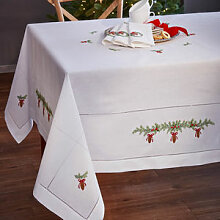 Kunstvoll bestickte Weihnachts-Tischdecke mit