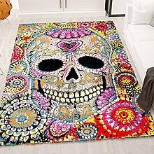 Kunstvoller Teppich Mit Schädel Motiv