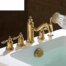 Kupfer 5-Loch Bad Armatur/Bad Tankwand an warmen und kalten Wasser Armaturen/Dusche5 set-A