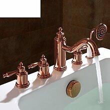 Kupfer 5-Loch Bad Armatur/Bad Tankwand an warmen und kalten Wasser Armaturen/Dusche5 set-B