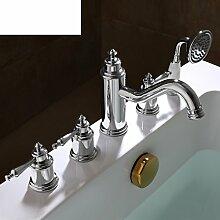 Kupfer 5-Loch Bad Armatur/Bad Tankwand an warmen und kalten Wasser Armaturen/Dusche5 set-C