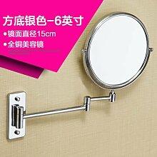 Kupfer an der Wand montierten Bad beidseitigen Spiegel Badezimmer mit Rasierspiegel Spiegel an der Wand montieren Sie make-up-Spiegel Silber am Ende einer 6-Zoll Durchmesser 15cm