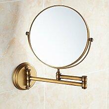Kupfer antik Kosmetik-/Rasierspiegel doppelseitig erweiterten Europäischen Falten Make-up-Spiegel Wandspiegel Spiegel Kosmetikspiegel Make-up-Spiegel 8-Zoll