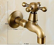 Kupfer Antik Waschmaschine Wasserhahn/Single-kalten europäischen Stil Wand-MOP Waschbecken-E