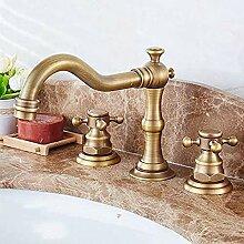 Kupfer Antike Wasserhahn Waschbecken Drei Löcher